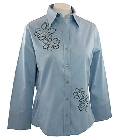 Christine Alexander Sketched Floral, Swarovski Crystal Fitted Pale Blue Blouse