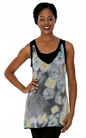 Parsley & Sage - Paige, layered sleeveless scoop neck tunic in a colorful pattern