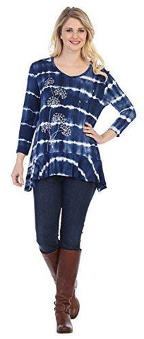Jess & Jane - Gone with The Wind, Tie Dyed, Ruffle Bottom 3/4 Sleeve Blue Tunic Top