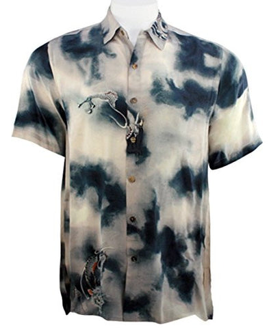 Citron - Dragon Daze, Asian Style Vintage Button Front Men's Silk Shirt