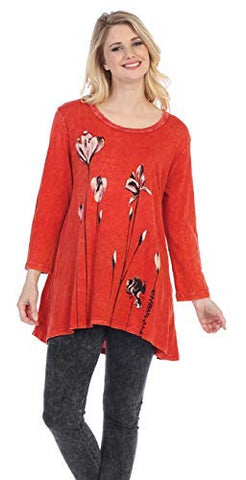 Jess & Jane - Ascent, Mineral Washed, Hi-Lo Hem, Cotton Slub, Scarlet Tunic Top
