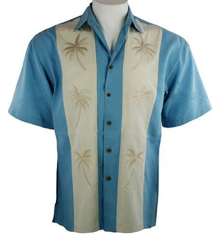 Bamboo Cay - Silver Palms, Men's Tropical Style, Embroidered Button Front Shirt
