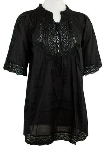 Ravel Fashion Black Colored Peasant Blouse 1/2 Sleeve, Tie Neck