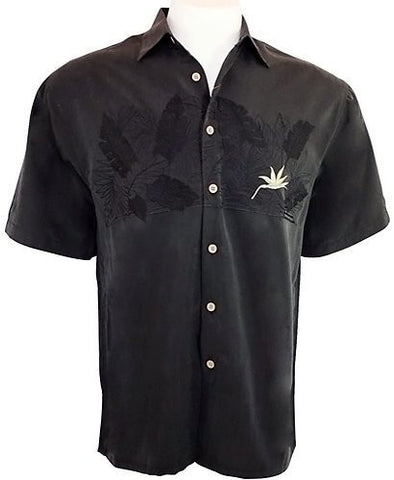 Bamboo Cay Tropical Style, Button Front Shirt, Charcoal Black - Bird of Paradise