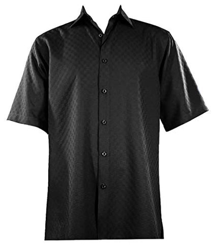 Bassiri - Button Front, Short Sleeve, Square Hem, Black, Casual Men's Shirt