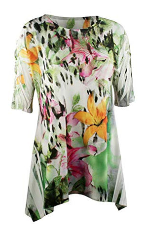 Sea & Anchor - Fierce Flower, 1/2 Sleeve Asymmetric Hem Colorful Fashion Tunic Top
