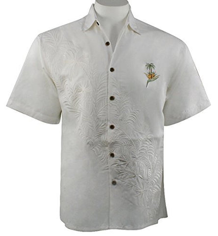 Bamboo Cay - Paradise Bambooquet, Embroidered Tropical Style Men's Shirt