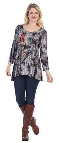 Jess & Jane - Bamboo, Tie Dyed, 3/4 Sleeve, Hi-Low, Scoop Neck, Rayon Tunic Top