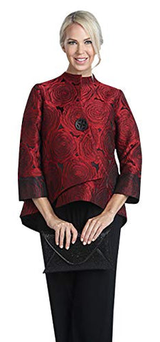 IC Collection One Button Front Rounded Back Hem Asian Styled Jacquard Jacket