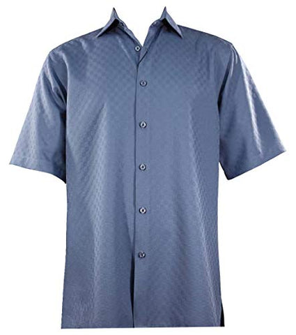 Bassiri - Button Front, Short Sleeve, Square Hem, Blue, Casual Men's Shirt