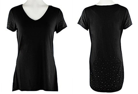 Crystaline Collections Black Crystal Scatter Short Sleeve Top in Swarovski Crystal Accents