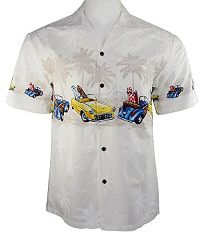 Ky's International Convertibles Fashion Men's Hawaiian Shirt, White