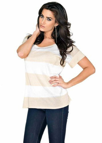 Belldini White & Gold Oversized Boxy Top with Alternating Lurex & Sheer Stripes