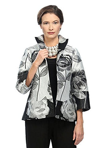 IC Collection Leaves & Flowers Floral Pattern 3/4 Cuffed Slv Asian Style Jacket