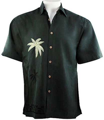 Bamboo Cay - Elevated Palms, Men's Tropical Style Embroidered Black Color Shirt