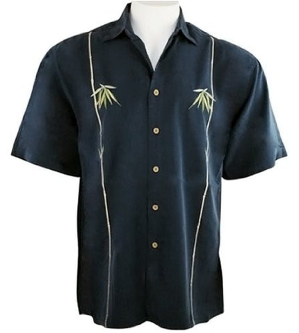 Bamboo Cay - Palm Leaves, Men's Tropical Style Shirt Background Embroidered Navy Blue