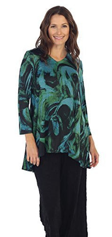 Jess & Jane - Symphony, Long Sleeve, V-Neck, Slinky Knit Hi-Low Hem Tunic Top