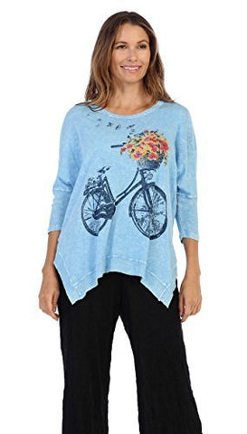 Jess & Jane - Bike Ride, Mineral Washed, Cotton Slub Dolman Sleeve Rib Detail Tunic