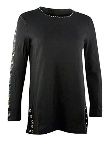Berek Shine in Grommets Round Neck Long Sleeve Rhinestone Accented Fashion Top