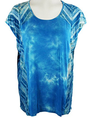 Gypsy Daisy - Striped Sides, Cap Sleeve, Scoop Neck Tie Dye Boxy Top