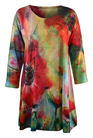 Et'Lois - Floral Burst, 3/4 Sleeve, Scoop Neck, Contemporary, Colorful Fashion Tunic