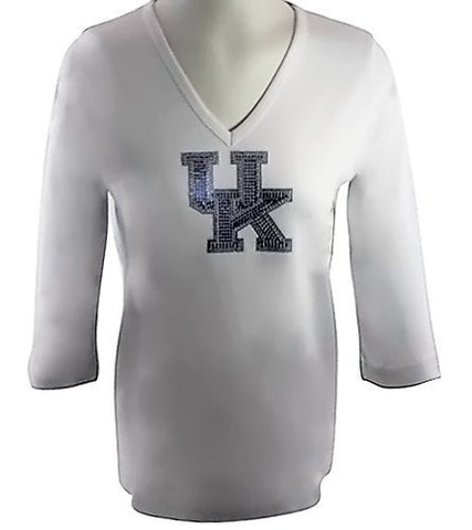 Collegiate Fashionista University of Kentucky College Top, Rhinestone School Logo