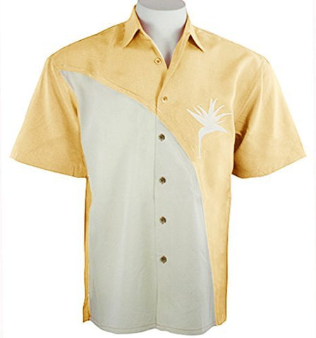 Bamboo Cay - Crescent Bird of Paradise, Tropical Style Yellow Embroidered Shirt