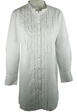 Ravel Fashion Long Sleeve Mock Neck Button Front Extra Long White Peasant Blouse
