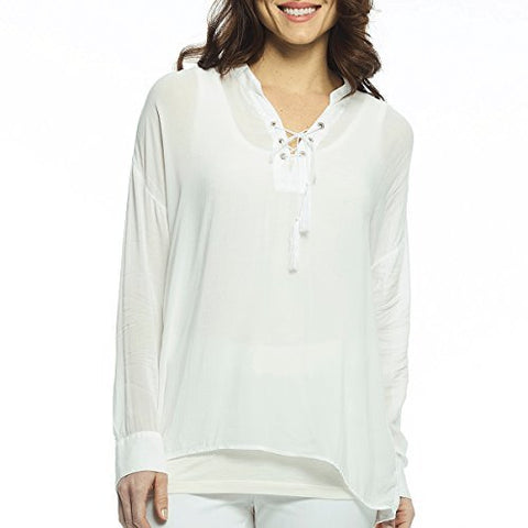Margaritaville Voile Lace up Neckline, Long Sleeve Ties & Tassels Relaxed Blouse