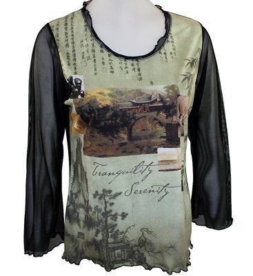 Vine Street Apparel, Sage & Black Top with 3/4 Sheer Sleeves - Tranquility