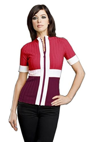 Belldini - Color Block, Maroon & White Mock Neck Cardigan with Sequins