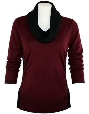 FX Fusion Knits - Vino & Black Top with Ribbed Sides & Two Tone Color Block