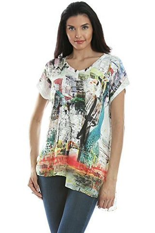 Inoah - Grand Dame, Cap Sleeve Chiffon Trim Wearable Art colorful Printed Tunic