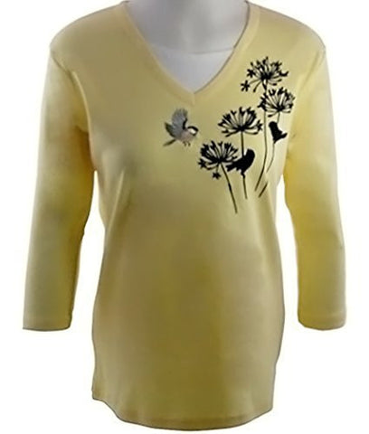 Morning Sun - Shadow Chickadees Novelty Fashion Top, Accented with Appliques