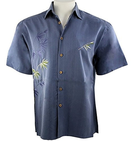 Bamboo Cay - Flying Bamboo, Embroidered Tropical Style Blue Color Men's Shirt