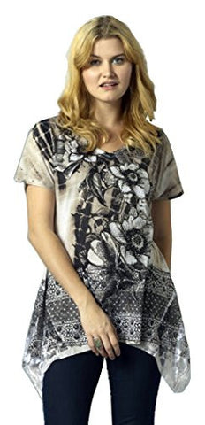 Bacci Clothing - Tatiana, Rhinestones, Sublimation, Short Sleeve Crew Neck Top
