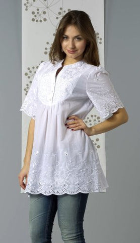 Bacci Clothing - Natalie, Peasant Blouse, Short Sleeve Button Front, Knitted Accents