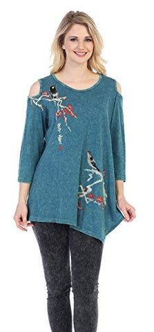 Jess & Jane - Melody, Mineral Washed Cold Shoulder Cotton Slub Asymmetric Tunic
