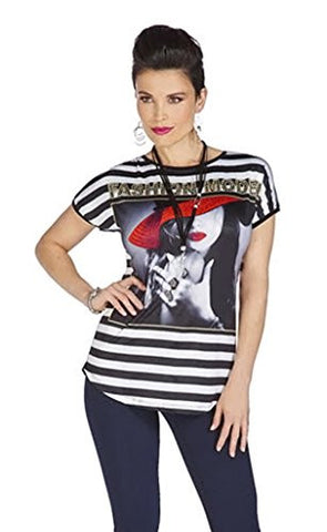 Tricotto - Fashion Model, Short Sleeve Top Black Stripes & Rhinestone Accents