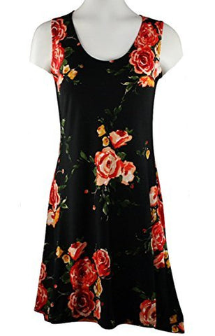 Fantazia Apparel Sleeveless Scoop Neck Sun Dress on a Floral Black Print Body