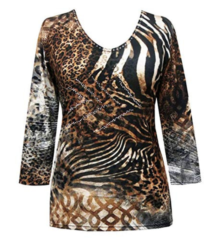 Valentina Signa - Animal Medley, 3/4 Sleeve V-Neck Top with Rhinestone Accents