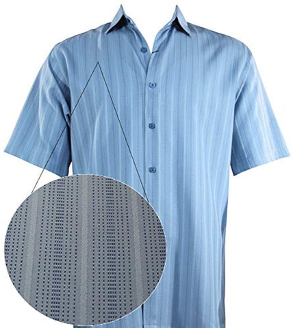 Bassiri - Button Front, Short Sleeve, Square Hem, Blue Striped, Casual Men's Shirt