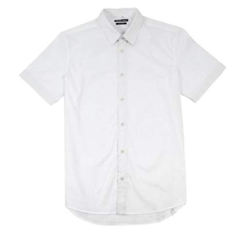 Stitch Note Classic Styled Short Sleeve Button Down White Men's Shirt