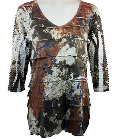 Cubism - Brown Splash Print, 3/4 Sleeve Woman's Top, V-Neck, Multi-Colored