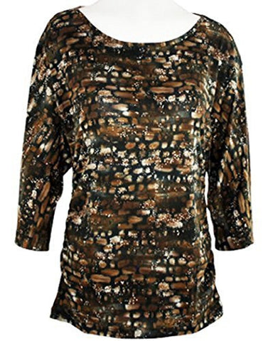 Tribal - Rectangle Maze Fashion Top with Dolman Sleeves on a Crew Neck Body