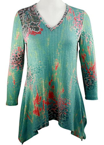 Boho Chic Long Sleeve V-Neck Sharkbite Hem Tunic Top - Destiny's Child