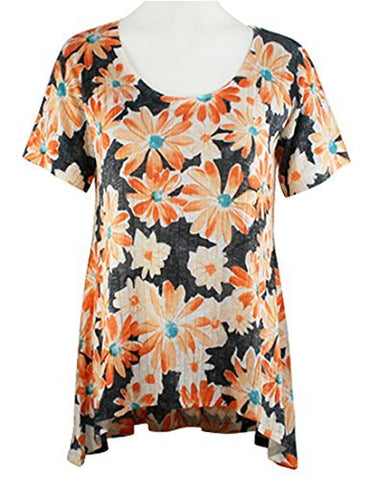 Nally & Millie - Orange Flowers, Scoop Neck Short Sleeve Lightweight Tunic Top