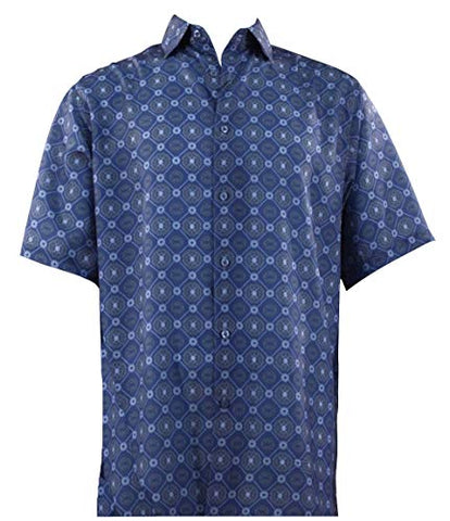 Bassiri - Blue Squares, Button Front Short Sleeve Square Hem Blue Men's Shirt