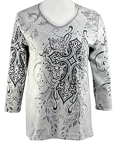 Cactus Bay Apparel - Gothic Cross, 3/4 Sleeve, V-Neck Rhinestone Cotton Top