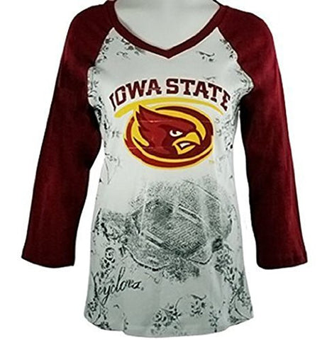 P-Michael - Iowa State Top, School Colors, School Name Highlighted in Foil